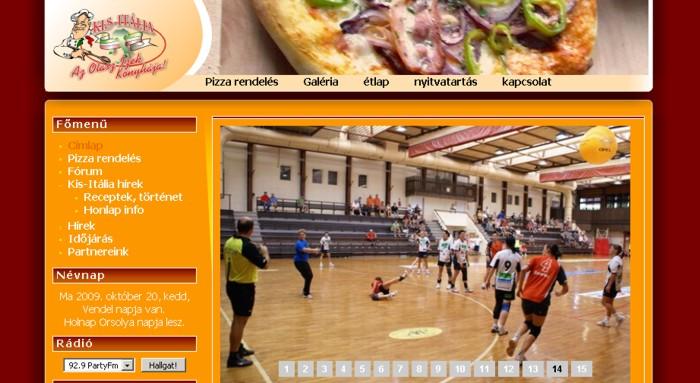 Kis-Itália pizzeria weboldala